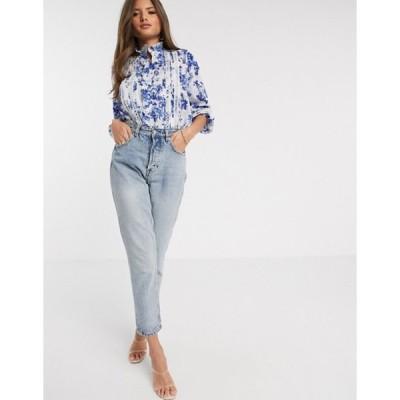 リバーアイランド レディース シャツ トップス River Island victoriana floral blouse in blue