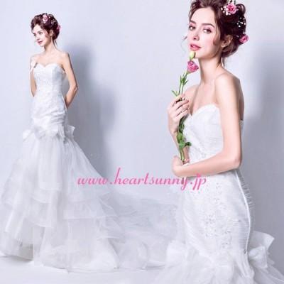 ウェディングドレス フリルティアードスカート 蝶結び装飾 編み上げ ロングトレーン E280