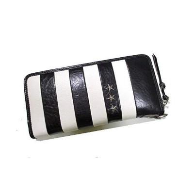半額に挑戦 財布 メンズ 長財布 ラウンド 超高級イタリアンレザー BLACK&WHITE ストライプデザイン スタースタッズ入り