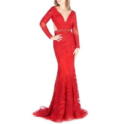 イエナフォアマックドゥガル  レディース ワンピース トップス Long Sleeve Lace Cutout Trumpet Gown RED