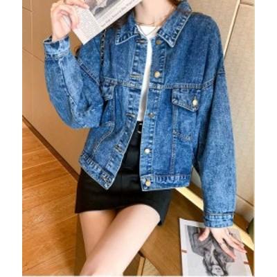 大きいサイズ レディース ワイドシルエット デニムジャケット ライトアウター トップス 韓国ファッション  予約商品/0305