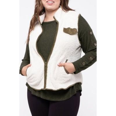 ブルーペッペーブルーペッパー レディース ジャケット&ブルゾン アウター Contrast Faux Fur Vest IVORY/OLIVE