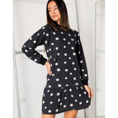 デイジーストリート ミニドレス レディース Daisy Street mini dress with peplum hem in daisy print エイソス ASOS ブラック 黒