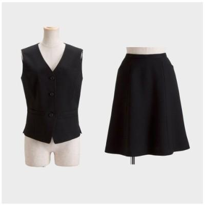 【事務服。ベストスーツ】2点セット(ベスト+フレアスカート)(丈56cm) (大きいサイズレディース)事務服, women's suits,  plus size women's suits