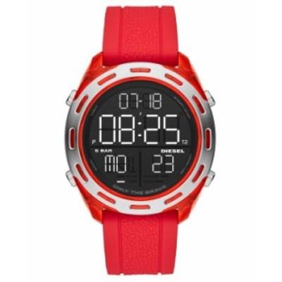 ディーゼル メンズ 腕時計 アクセサリー Men's Digital Crusher Red Silicone Strap Watch 46mm Red