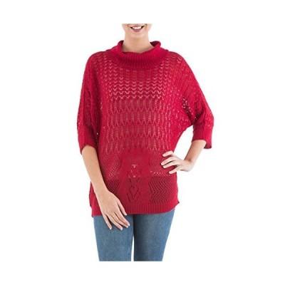 NOVICA Red 10% Alpaca Quarter Length Sleeves Pullover Sweater, Evening Flig