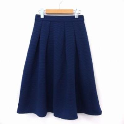 【中古】ローズバッド ROSE BUD スカート フレア 膝丈 シンプル サイドジップ 1 ブルー /ST53 レディース