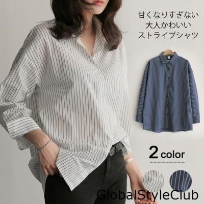 ストライプシャツ/レディース/長袖シャツ/シャツブラウス/ボタンシャツ/ロングシャツ/レディースファッション/トップス/体型カバー