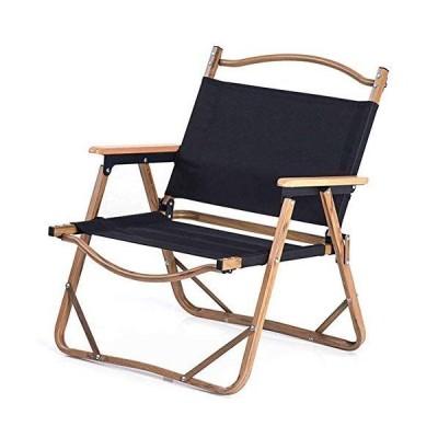 アルミ合金の木目調折りたたみ椅子、高耐荷重屋外折りたたみキャンプ軽量釣り椅子,黒
