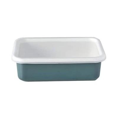 富士ホーロー 保存容器 琺瑯 浅型 レクタングル M 北欧カラー スモークブルー コットン CTN-M.SB (スモークブルー M)