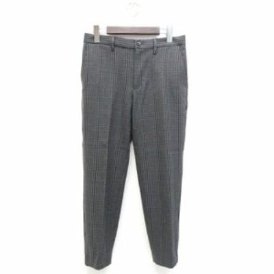【中古】ジーユー GU パンツ クロップド丈 グレンチェック 柄 S 灰色 グレー /ZB メンズ