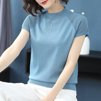 2020新品制作/ボーダーラインカットソー 大人スタイル 可愛い ブラック レディース 韓国ファッションニット