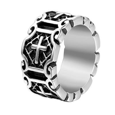 JewelryWe 指輪 メンズ リング 11MM アンティーク風 ゴシック トライバル クロス 十字架 ブラック シルバー(銀) バレ