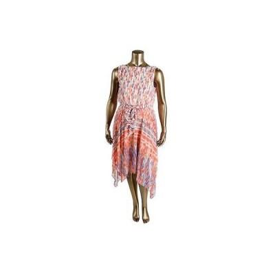 海外セレクション ドレス ワンピース Sangria 8878 レディース ピンク Chiffon プリントed Handkerchief Hem カジュアル ドレス 12P BHFO