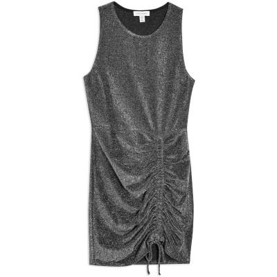 トップショップ TOPSHOP ミニワンピース&ドレス グレー 12 ナイロン 79% / 金属繊維 16% / ポリウレタン 5% ミニワンピース