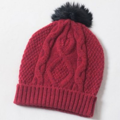 KUNA ベビーアルパカ ニット帽 ROSIE HAT ワインレッド 【アルパカニット帽】【ベビーアルパカ】【ニット帽 レディース】