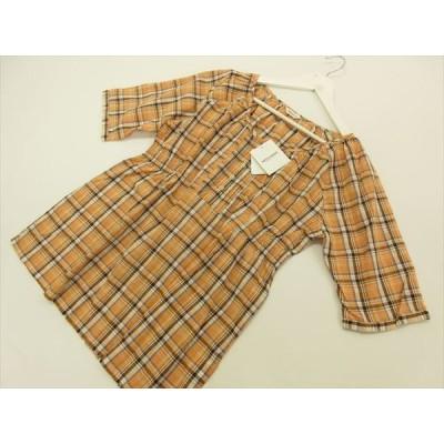 定価¥7,800 ミツミネ MITSUMINE ラグランスリーブ 七分袖 丸首 ブラウス F オレンジ地 多色チェック柄 メール便可