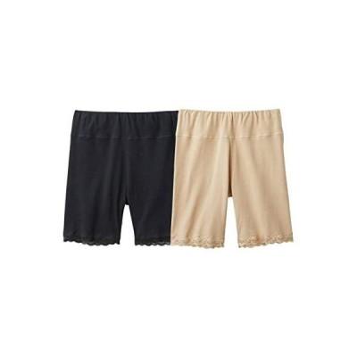 [nissen(ニッセン)] レギンス・スパッツ 大きいサイズ 靴下(ソックス) お腹らくちん 綿混3分丈オーバーパンツ2枚組 ベージュ+黒 LL3