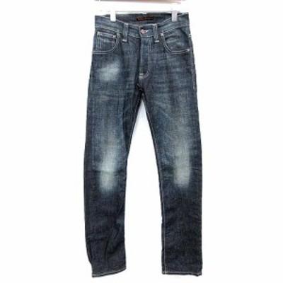 【中古】ヌーディージーンズ nudie jeans デニムパンツ AVERAGE JOE OLD SCRAPED ボタンフライ 28/32 NJ1705 /☆G