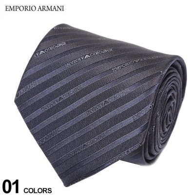 エンポリオアルマーニ EMPORIO ARMANI シルク100% ロゴ細ストライプ ネクタイ 紺 ブランド メンズ 紳士 ビジネス シルク EA1P60547635