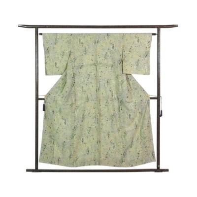 リサイクル着物 小紋 正絹薄グリーン地袷小紋着物