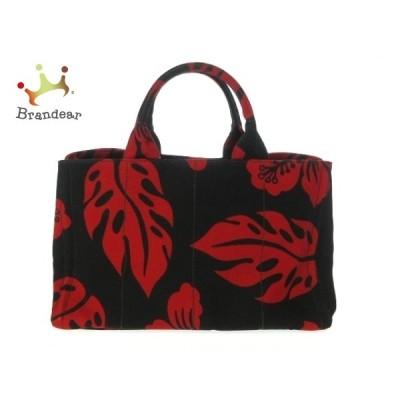 プラダ PRADA トートバッグ 美品 CANAPA B2642B 黒×レッド 花柄 キャンバス  値下げ 20201223