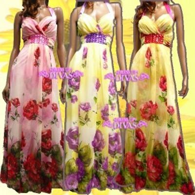 スイーツみたいなふんわり高級シフォン★ぷっくり薔薇がショートケーキの苺みたいッ!姫系Aライン愛されグラデーションロングドレス