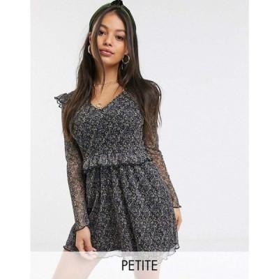ミス セルフリッジ Miss Selfridge Petite レディース ワンピース ワンピース・ドレス printed mesh dress in black ブラックフローラル