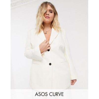 エイソス ASOS Curve レディース スーツ・ジャケット アウター ASOS DESIGN Curve pop suit blazer in white ホワイト