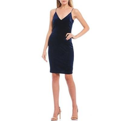 ビーダーリン レディース ワンピース トップス Spaghetti Strap V-Neck Velvet Slip Dress