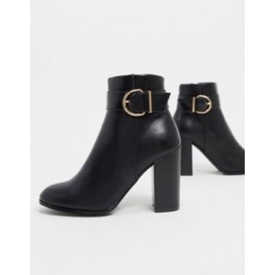 エイソス レディース ブーツ・レインブーツ シューズ ASOS DESIGN Retreat heeled ankle boots in black Black
