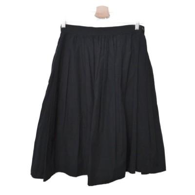 マーガレットハウエル MARGARET HOWELL ◆ コットン ポプリン サイドジップ タック フレア スカート/1/ブラック O731