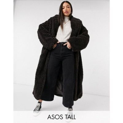 エイソス ASOS Tall レディース コート ロングコート アウター Asos Design Tall Faux Fur Hero Longline Maxi Coat ブラウン