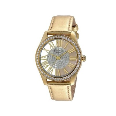 Kenneth Cole Women's Gold-Tone Steel See Thru Watch Leather Band KC2828