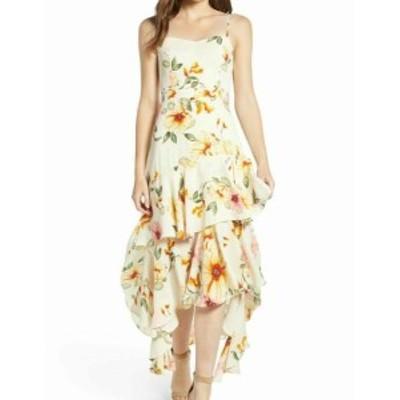 Leith ライス ファッション ドレス Leith NEW White Yellow Womens Size Medium M Floral High Low Sheath Dress