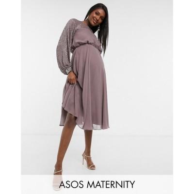 エイソス ASOS Maternity レディース ワンピース マタニティウェア ミドル丈 ASOS DESIGN Maternity midi dress with linear yoke embellishment モーヴ
