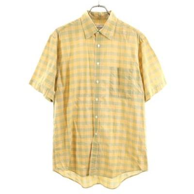 アクアスキュータム チェック柄 半袖 シャツ L オレンジ系 Aquascutum メンズ 古着 200718 メール便可