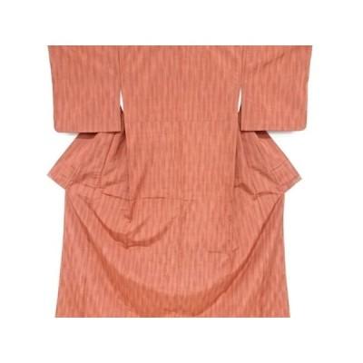 宗sou よろけ縞模様織り出し手織り真綿紬着物【リサイクル】【着】