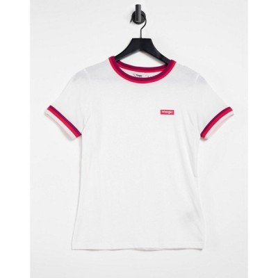 ラングラー Wrangler レディース Tシャツ トップス Ringer T-Shirt With Contrast Trim In White ホワイト
