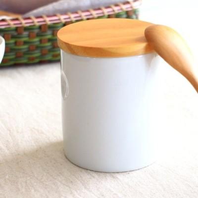 next陶器製キャニスター 500ml スタンダード コーヒー豆 紅茶 茶葉 お茶 保存容器 シリコン付き天然木蓋 ポーセリンアート 国産 瀬戸焼