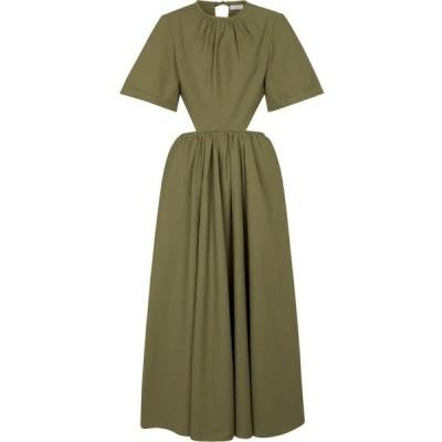 デヴォー ニューヨーク Deveaux New York レディース ワンピース ミドル丈 ワンピース・ドレス Cut-out poplin midi dress Olive