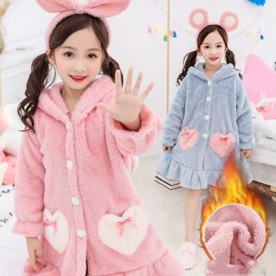 パジャマ キッズ・子供用 女の子 冬 ウサギ おしゃれ 前開き キッズ ルームウェア 兎耳 子供パジャマ ふわふわ 長袖 ワンピース もこもこ 暖かいf01