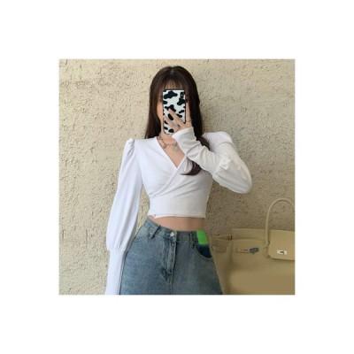 【送料無料】底入れシャツTシャツ 女 秋冬 デザイン 感 小 パフ ミニ丈 タ | 364331_A64186-7629404
