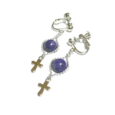ラピスラズリと小さな十字架のイヤリング