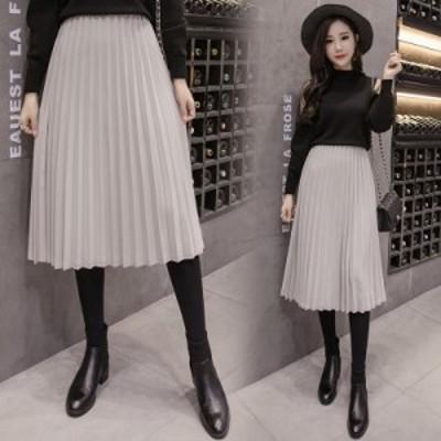 大人な雰囲気のプリーツスカート ミモレ丈 ロングスカート トレンド 春服 レディース プチプラ 大人かわいい 韓国 ファッション