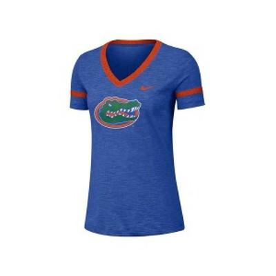 ナイキ レディース Tシャツ トップス Women's Florida Gators Slub V-Neck T-Shirt RoyalBlue