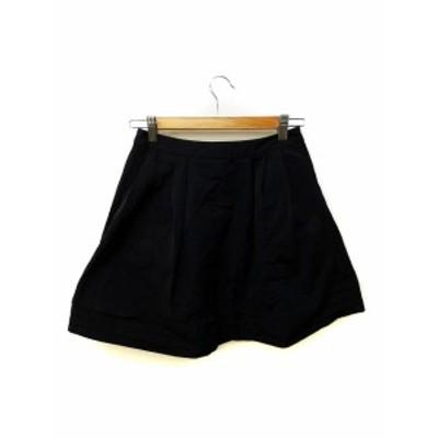 【中古】チェスティ Chesty スカート フレア タック ミニ丈 0 黒 ブラック レディース