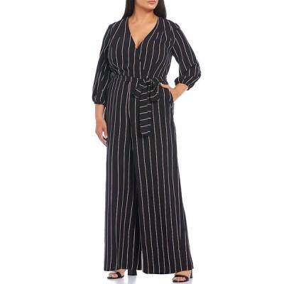 メゾン タラ レディース ワンピース トップス Plus Size 3/4 Balloon Sleeve Tie Waist Striped Wide Leg Starlight Crepe Jumpsuit Black/Plum/Taupe