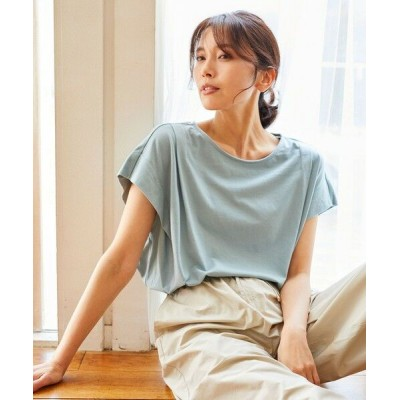any FAM/エニィファム 【大ヒット商品】【UVケア・接触冷感】タックTブラウス Tシャツ スモーキーグリーン系 3