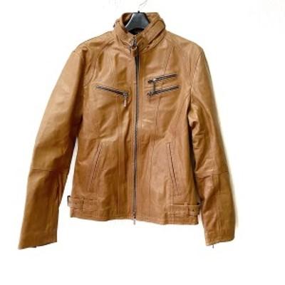 アトリエサブメン A.S.M ライダースジャケット サイズ50 メンズ - ブラウン 長袖/レザー/ジップアップ/春/秋【中古】20210303